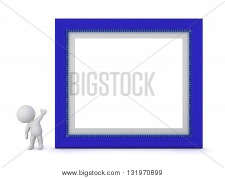 3D character showing a very large blue picture frame. Isolated on white background.