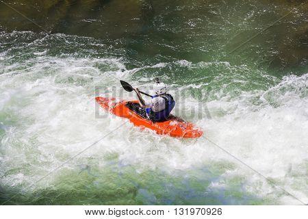Kayaking in white water blurred motion, Rastoke Croatia