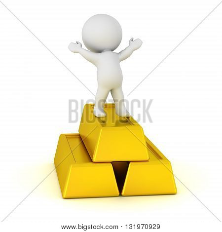 3D character standing with arms raised on some large gold bars. Isolated on white background.