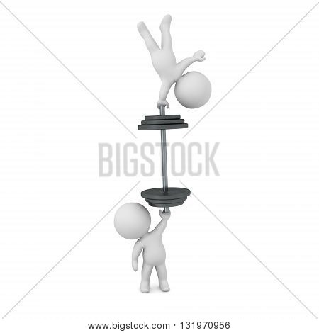 3D character holding up a large weight and another character. Isolated on white background.
