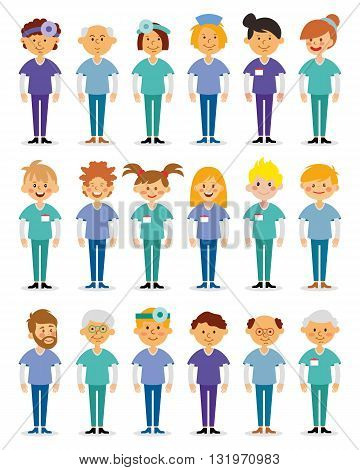 Doctors and nurses and medical staffs flat design icon set. Medical team. Group of hospital workers vector illustration.