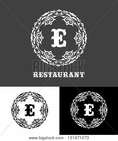 Monogram logo template with  calligraphic elegant ornament. Identity design with E letter for shop, store or restaurant, heraldic, barbershop or barber, beauty salon, justic lawyer, boutique or hotel