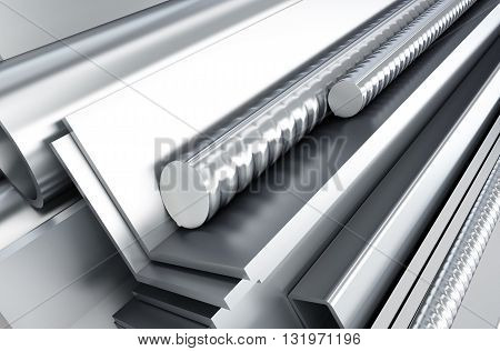 metal products. 3d Illustrations background 3d, rendering,