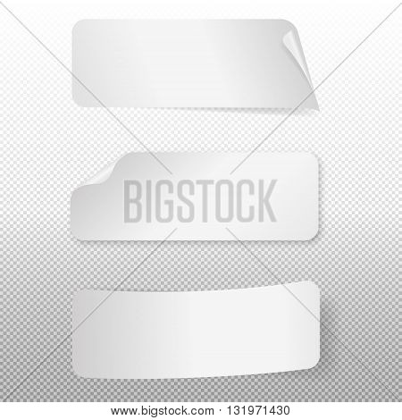 Set of white paper stickers on a transparent background. Vector EPS10 illustration.