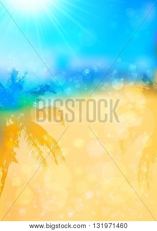 Blurred summer vector tropical background with palms silhouettes