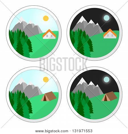 Vector. Mountain holidays icons. Holiday house. Summer house. Snow mountain camping. Isolated illustration flat design. Perfect mountain holiday.