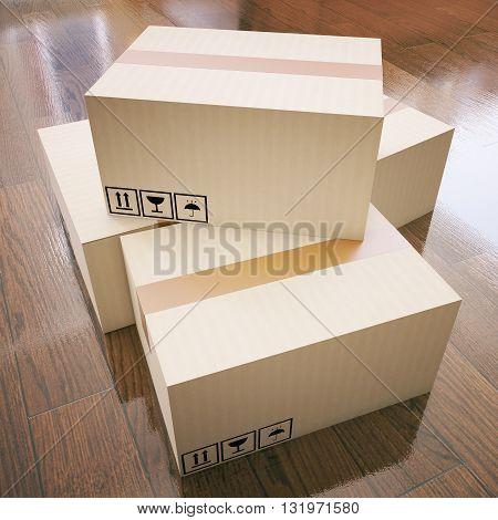 Cardboard boxes on dark wooden floor. 3D Rendering