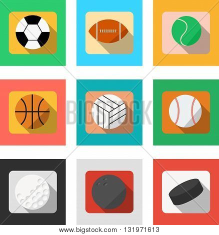 Vector. Set of sport balls. Range of sports accessories. Football, baseball, rugby ball, soccer ball, basketball, volleyball, hockey, golf, bowling. Isolated illustration. Flat design