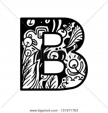 Coloring Book Page Alphabet Letter B Vector. Coloring Book Page Hand-drawn. For Shirt Design, Tattoo