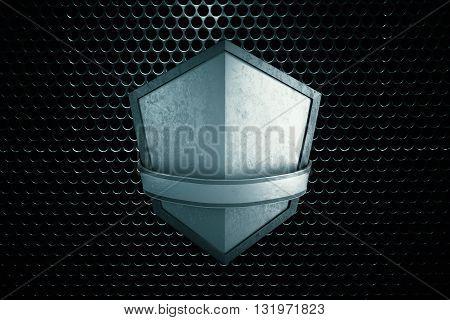 Blank silver shield on black patterned background. Mock up 3D Rendering