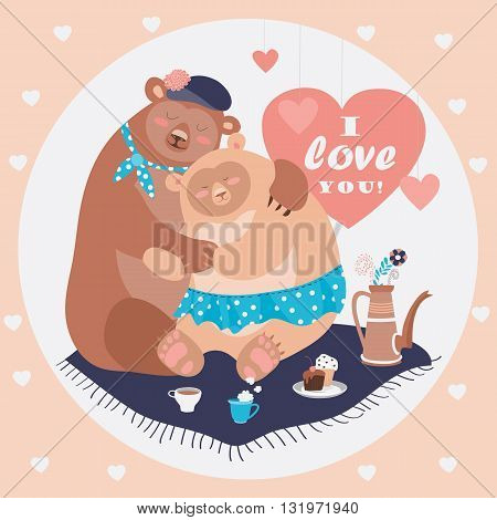 Couple of hugging bears. Vector romantic greeting card