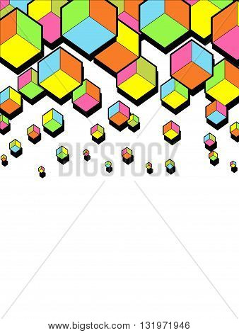 abstract falling 3d cubes. Graphic geometric background. Colorful cubes. Funny bright colors. Hexagonal shapes. Vector illustration background