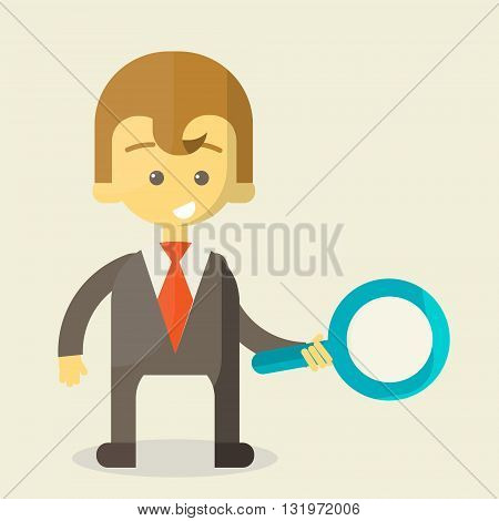 Businessman with a magnifying glass looking for the answer to your question . Finding the right way in the business. cheerful business illustration