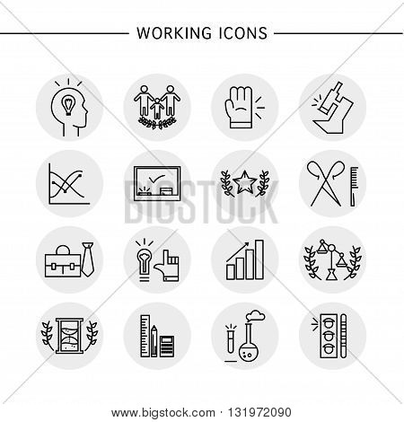 Vector working icons set isolated on white background. Flat working icon, logo, insignia, symbol, brand, label, badge. Simple artistic icons for work, company group, banking, lawyer firm, education.