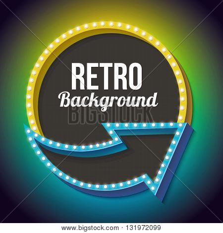 Retro sign. 3d arrow with the light at the edges. Round frame with lamps and blank space for vayeshev text advertising messages shares. Yellow and blue neon light falls on a black background.