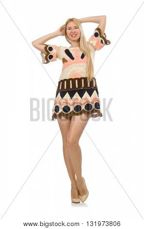 Blond hair model wearing designer clothes isolated on white