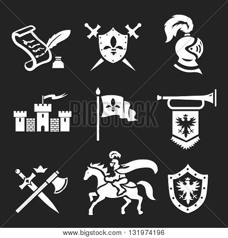 Medieval Knight armor and swords white icon set vector