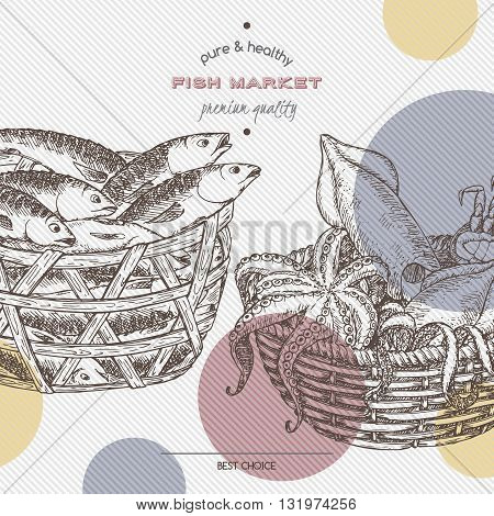 Fish market template with fish and seafood baskets. Great for markets, fishing, fish processing, canned fish, seafood product label design.