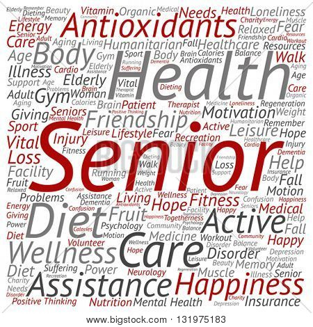 Vector concept conceptual old senior health, care or elderly people abstract square word cloud isolated on background