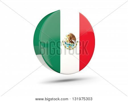 Round Icon With Flag Of Mexico