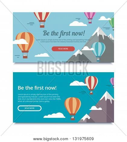 Vector illustration on the theme of SEO and website promotion. Banners for SEO with a balloon and mountains. Be the first now.