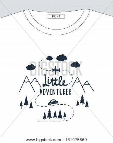 Vector Flat Illustration Little Adventurer Lettering With Car, Plane, Mountains And Forest Tree. Bab