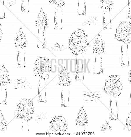 Vector Seamless Background With Forest Pattern. Hand-drawn Trees. Fabric Textile Print