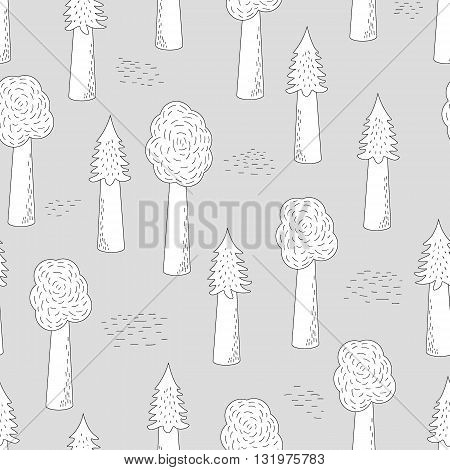 Vector Seamless Forest Pattern On A Grey Backgound. Hand-drawn Trees. Fabric Textile Print