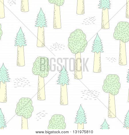 Vector Seamless Forest Pattern On A White Backgound. Hand-drawn Trees. Fabric Textile Print