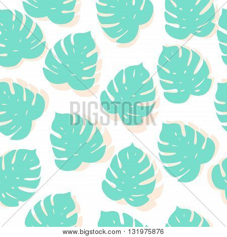 Vector Seamless Tropical Background With Pattern Of Palm Leafes. Textile Fabric Print