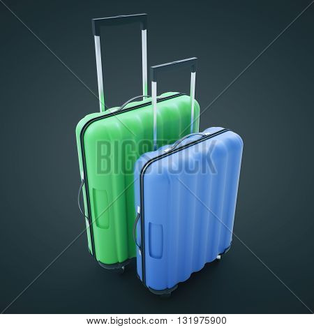 Traveling concept with two suitcases on dark background. 3D Rendering