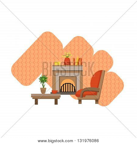 Guest Room Interior Design Flat Cartoon Stylized Vector Illustration