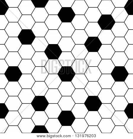 Vector Seamless Background. Tile Floor Hexagonal Grid. Black And White Pattern