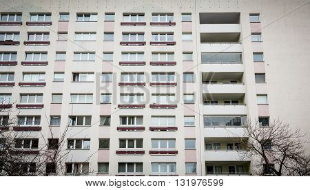 BERLIN GERMANY. MARCH 11 2016: Facade of a Plattenbau at Berlin Alexanderplatz. One of the most famous places in Berln.