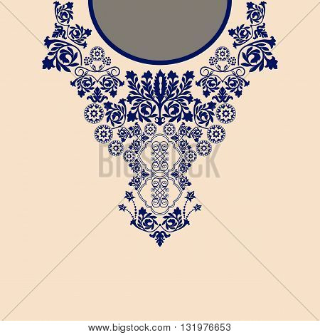 Two colors ethnic flowers neck. Paisley decorative border