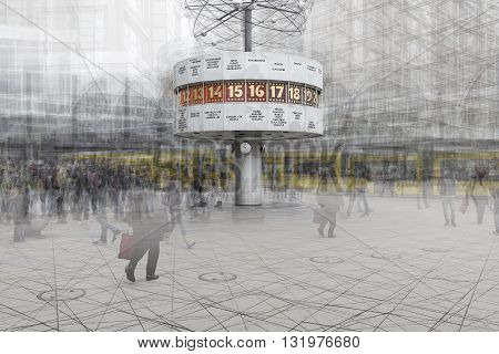 BERLIN GERMANY. MARCH 11 2016: Double exposure artwork of the Weltzeituhr at Berlin Alexanderplatz.