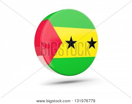Round Icon With Flag Of Sao Tome And Principe