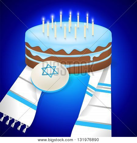 Jewish bar mitzvah  illustration with kipa, tallit and cake with 13 candles.