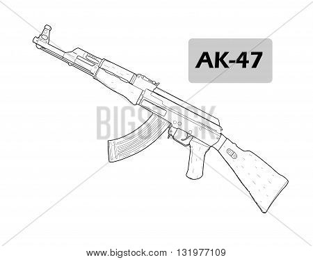 Rifle AK 47, drawing design  - vector illustration