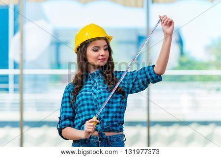 Young woman doing home improvements