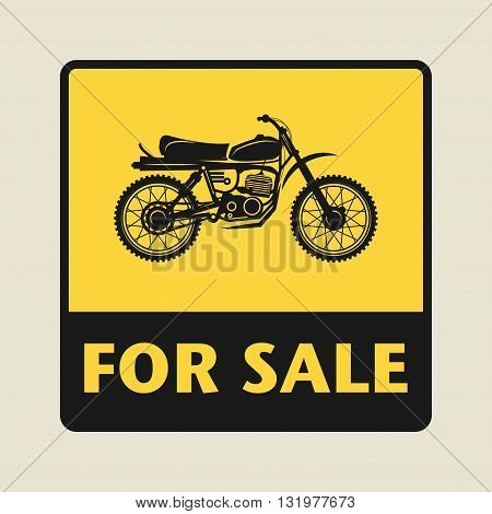 Motorbike For Sale icon or sign, vector illustration