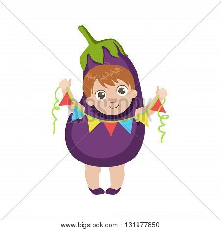 Boy Dressed As Eggplant Colorful Simple Design Vector Drawing Isolated On White Background