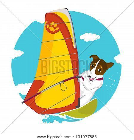 Funny Jack Russell Terrier dog windsurfing vector illustration
