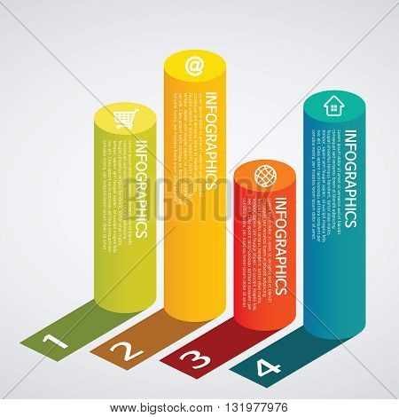 Vector info graphics - colorful graph,cylinder, shadow