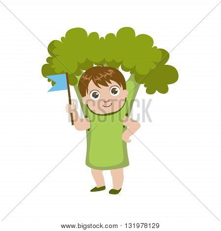 Boy Dressed As Broccoli Colorful Simple Design Vector Drawing Isolated On White Background