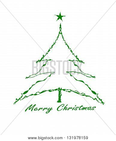 Green Christmas tree with star - vector illustration.