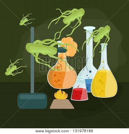 Viruses in infected organism , viral disease epidemic , Vaccine research vector illustration