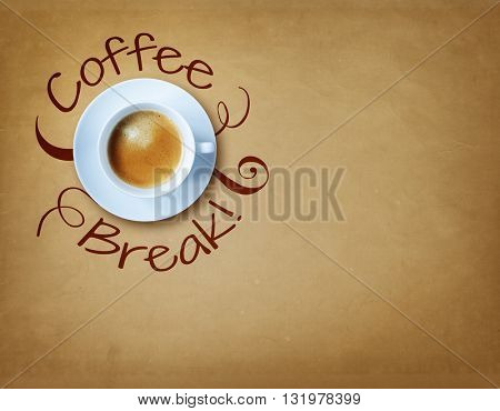 Coffee break cup with copy space