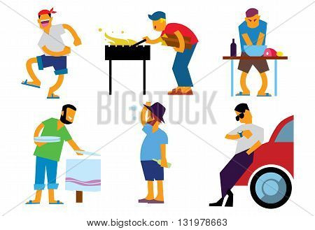 Group of friends having outdoor garden barbecue. BBQ people isolated on white background.