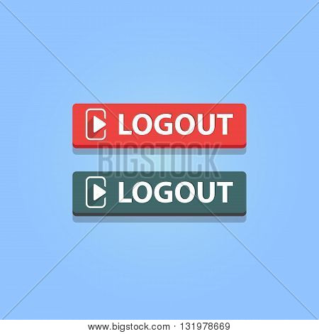 logout button. Vector illustration. Red and gray colors